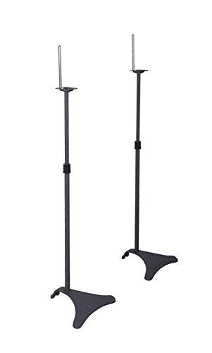Atlantic Adjustable Height Speaker Stands Black - Set of 2 Holds Satellite Speakers, Adjustable...