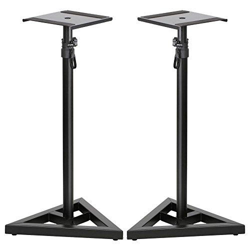 Topeakmart 2 Pcs Speaker Stands Adjustable Monitor Metal Set Speaker Triangle Pair Steel Stands