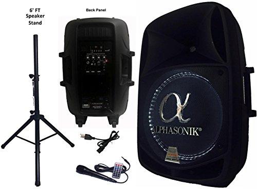 Alphasonik 15' Powered 2800W PRO DJ Amplified Loud Speaker Bluetooth USB SD Card AUX MP3 FM...