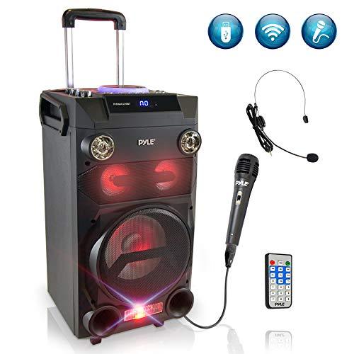 Pyle Outdoor Portable Wireless Bluetooth Karaoke PA Loud speaker - 8'' Subwoofer Sound System...
