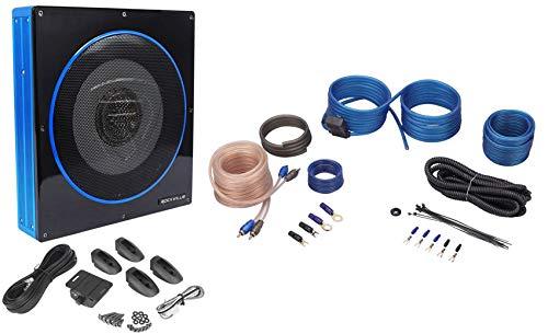 Rockville RW10CA 10' 800 Watt Under-Seat Slim Amplified Car Subwoofer +Wire Kit