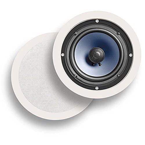 Polk Audio RC60i 2-way Premium In-Ceiling 6.5' Round Speakers, Set of 2 Perfect for Damp and...