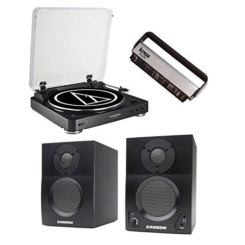 Audio-Technica AT-LP60BK-BT Bluetooth Automatic Turntable w / Samson BT3 Active 2-way Bluetooth...