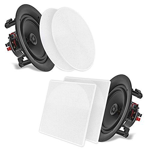 """5.25'' In-Wall/In-Ceiling Dual Speakers (Pair) - 2-Way Woofer Speaker System 1/2"""" Polymer..."""