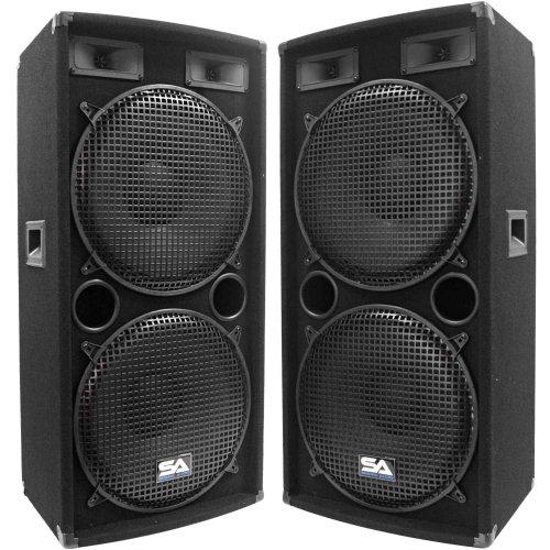 Seismic Audio - Pair of Dual 15' PA DJ SPEAKERS 1000 Watts PRO AUDIO - Band, Bar, Wedding,...