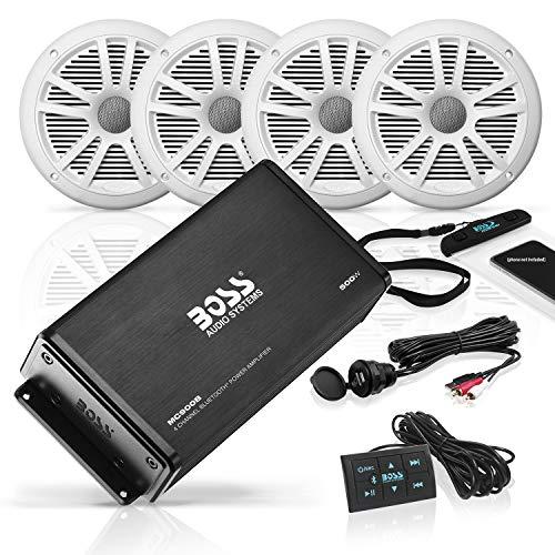 BOSS Audio Systems ASK904B.64 Marine Weatherproof Amplifier and Speaker Package - Full Range...