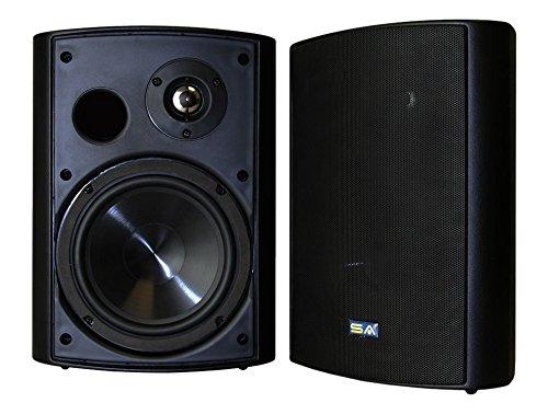 Bluetooth 6.50' Indoor/Outdoor Weatherproof Patio Speakers, Wireless Outdoor Speakers (Black-...